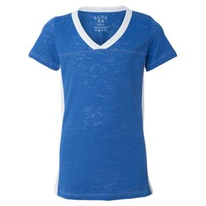 Juniors' Burnout V-Neck Side Stripe T-Shirt Thumbnail