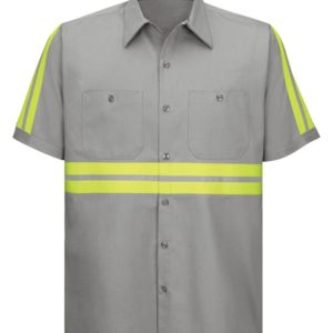 Enhanced Visibility Short Sleeve Cotton Work Shirt Long Sizes Thumbnail