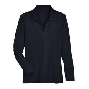 Devon & Jones CrownLux Performance™ Ladies' Plaited Long Sleeve Polo Thumbnail
